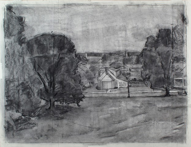 Alumni Center Field View North Charcoal on Paper 27 x 32 2016