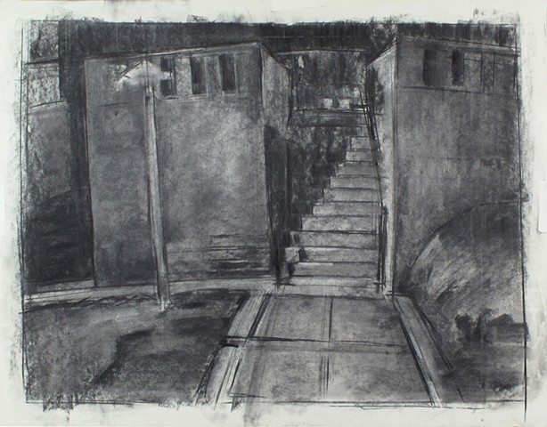 Park Crest Stairs Charcoal on Paper 27 x 32 2016