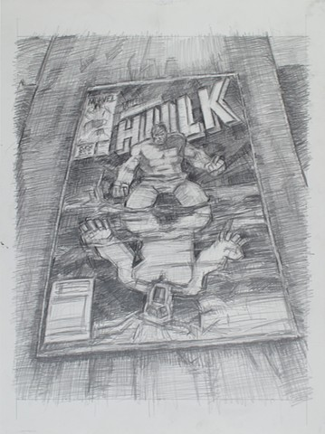 Wrapped in Plastic (Hulk #297) Graphite on Paper 24 x 18 2017