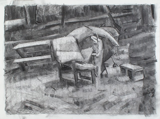 Found Still Life, MT Gretna Charcoal on Paper 18 x 24 2017