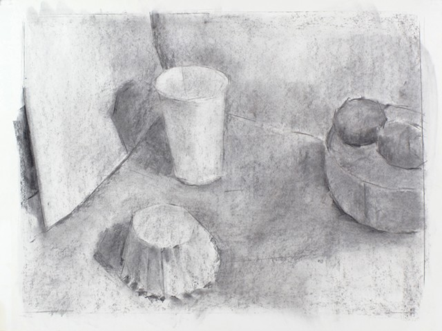 White Still Life Charcoal on Paper 18 x 24 2015