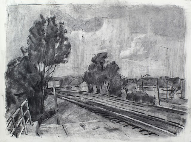 Fredericksburg Train Station Charcoal on Paper 18 x 24 2016