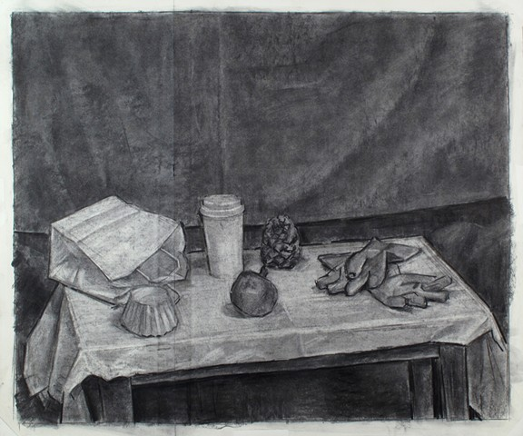 Chambersburg Still Life, Top Charcoal on Paper 26 x 30 2016
