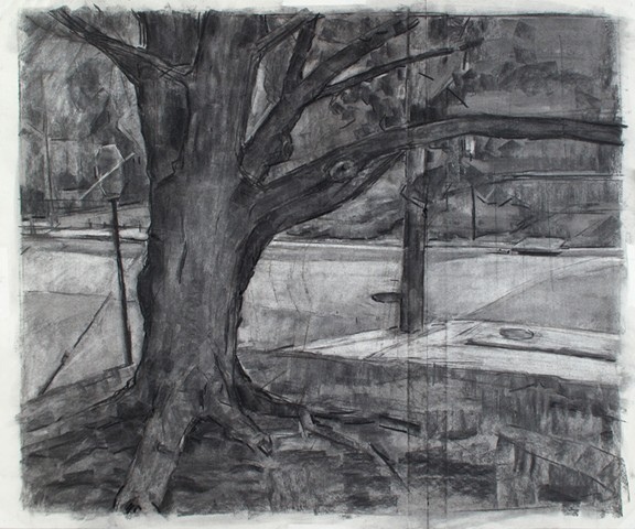 Alumni Center Field, SW Corner Charcoal on Paper 26 x 31 2017