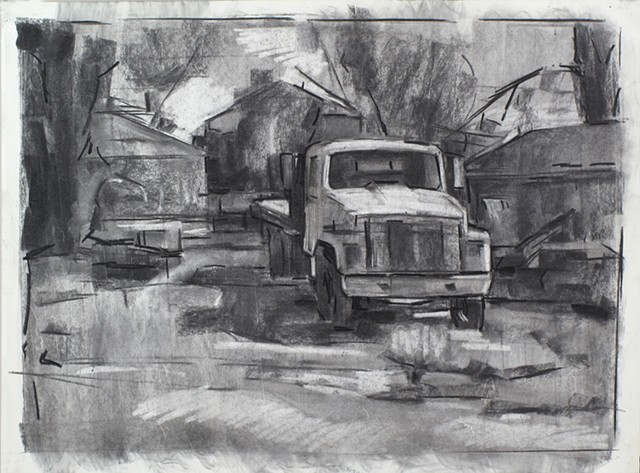 Fredericksburg Truck Weedon St. Charcoal on Paper 18 x 24 2016