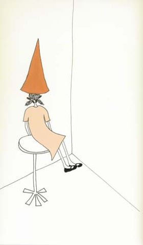 Shauna Oddleifson, Dunce Cap, acrylic and ink on paper