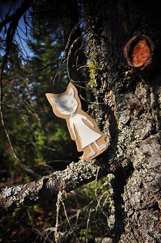 These pieces are intaglio prints that I have affixed to wood cut out and placed in around in the trees at the Mount Rose Lookout Gallery.  Photo by Julia Prudhomme