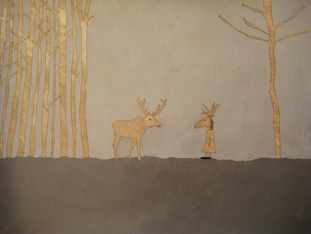 Shauna Oddleifson, Moose Mask (Animal Dreams), mixed media on paper