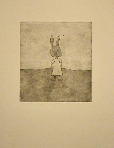 Rabbit Mask, intagil on rag paper