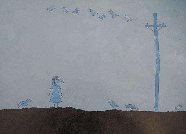 Shauna Oddleifson, Crow Mask (Animal Dreams), mixed media on paper