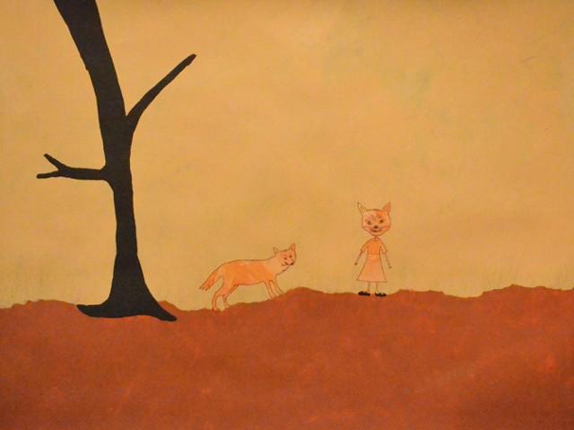 Fox Mask (Animal Dreams), mixed media on paper