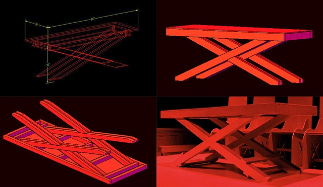 """Macbeth""  Preproduction Autocad 3d Design and built table"