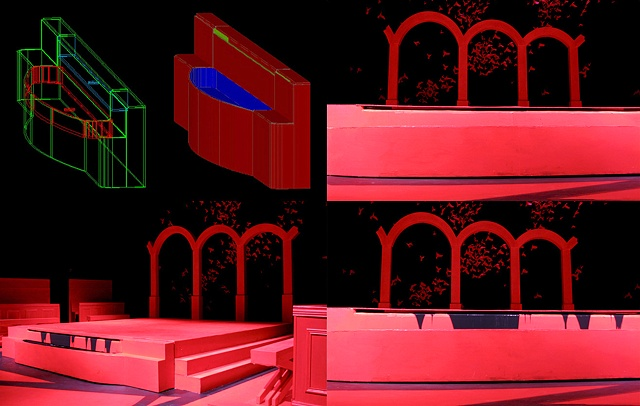 """""""Macbeth""""  Preproduction Autocad 3d Design for fountain piece and built fountain on stage"""