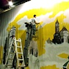"""""""Miracle on 34th Street""""   Hand painting the back drop"""