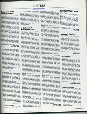 Joshua Schwebel, inserted in Art in America, Spring, 1990