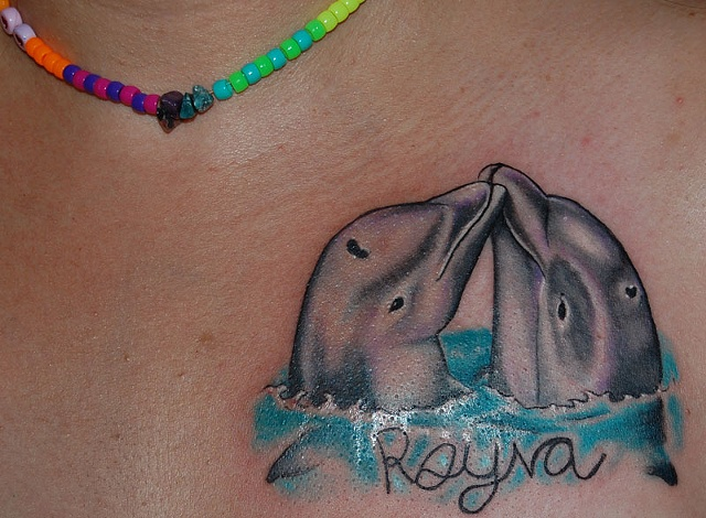 Mommy and Baby Dolphin Kissing with Rayna's own signature