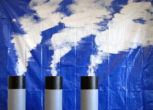 photograph of sculpture of painted smoke stack and stock photo by Rena Leinberger