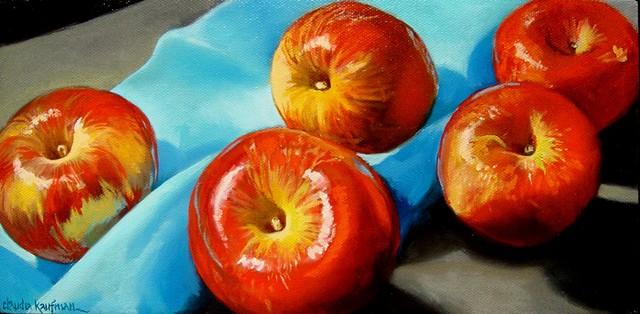 Apples on Blue Cloth