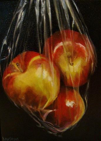 apples on black