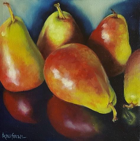 Five Reflective Pears