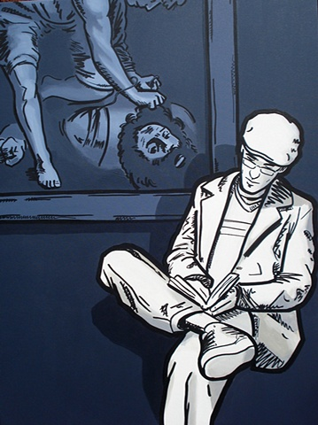 Reader in front of David & Goliath, acrylic and graffiti marker on canvas, by Adam Matak.