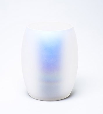 handblown clear glass shell with iridescent coating for OnHub router