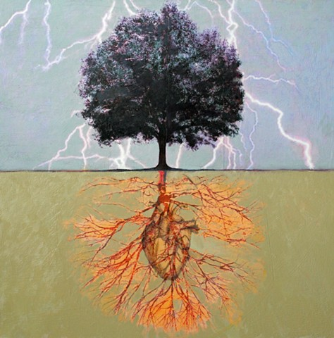 oil, collage, and photo transfer print of tree on canvas by Raleigh, North Carolina painter/artist Richard Garrison