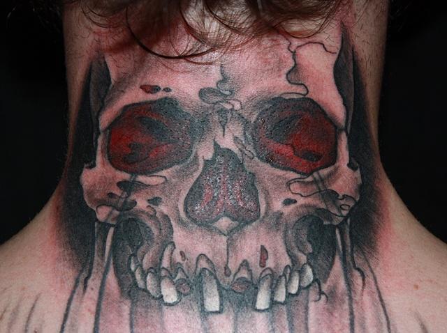 black and grey skull neck tattoo by Danny Gordey Ink Machine Edmonton Canada