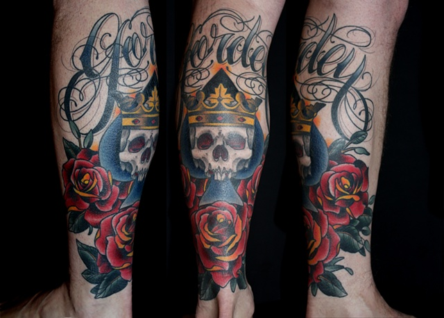 traditional tattoo skull crown and roses by Danny Gordey Ink Machine Edmonton Canada