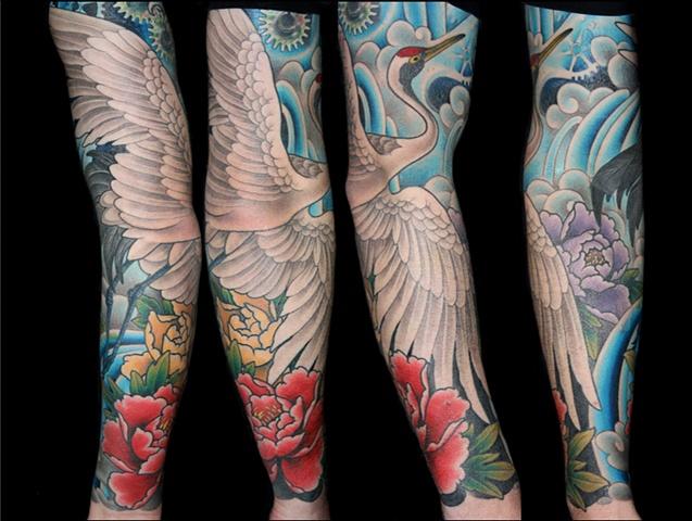 traditional japanese crane peonies water sleeve tattoo by Danny Gordey Ink Machine Edmonton Canada