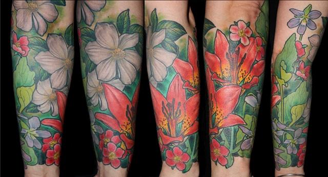 lily dogwood wild rose tattoo by Danny Gordey Ink Machine Edmonton Canada