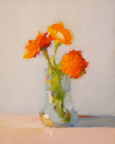 Three Flowers in Flared Vase