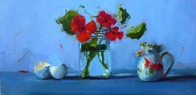 Red Flowers with Chicken Pitcher