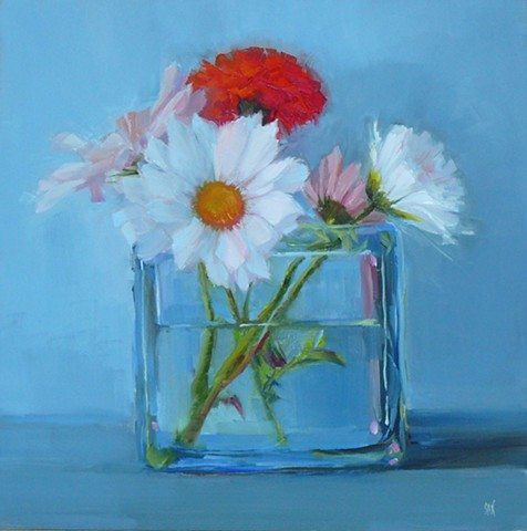 White Daisies and Red Carnation
