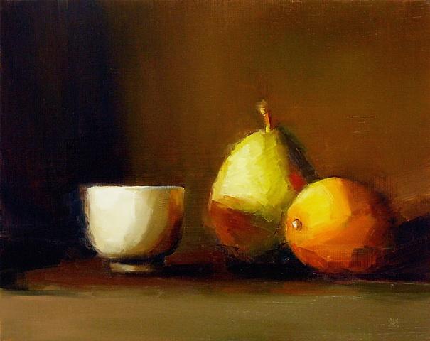 Cup, Pear, Lemon