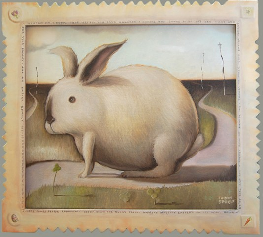 """Bunny Trail"" Hand Carved and Painted Frame"