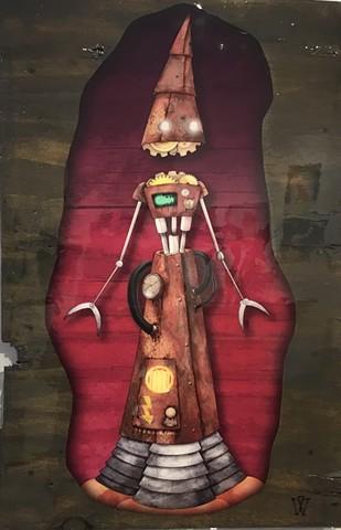 "Impossible Winterbourne  ""RocketBot"" Street Art Piece"
