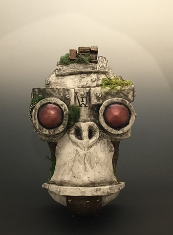 """Impossible Winterbourne  """"MechMonkey Face"""" Stone with Moss"""