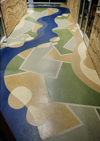 Public Art at the Boise Watershed Boise Idaho, Eco-Floor, recycled flooring