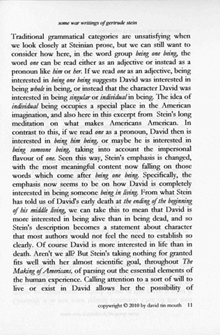 some war writings of gertrude stein  chapter one, page eleven