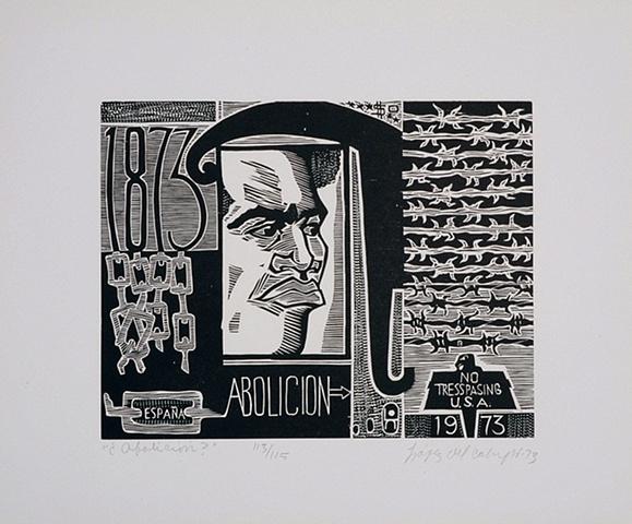 """Rafael López del Campo , ¿Abolición? , Porfolio Esclavitud Litografía sobre papel , 13 ¾"""" x 15 7/8"""" , 1973, Coleccion Reyes - Veray"""