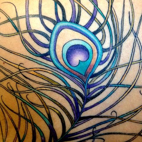 peacock2 tattoo detail