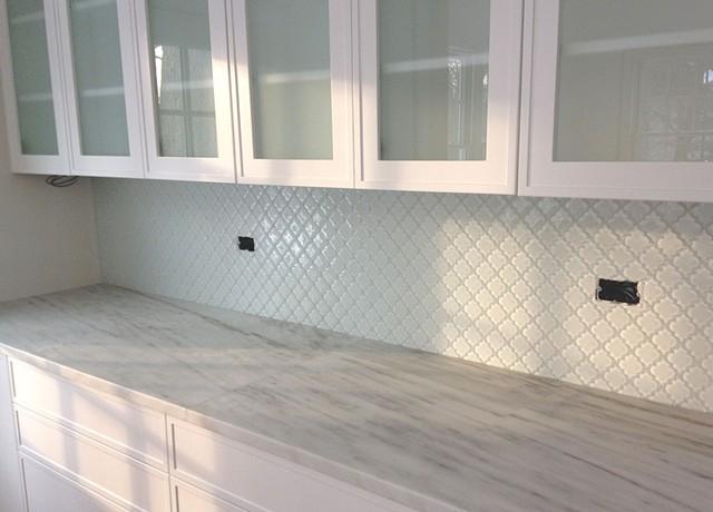 Marble Counter & Glass Tile Backsplash