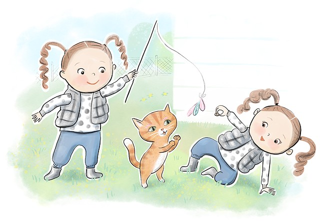 twins, girls, kids fashion, kitten, cute, polka dots, adorable, Violet Lemay Illustration, children's book illustration