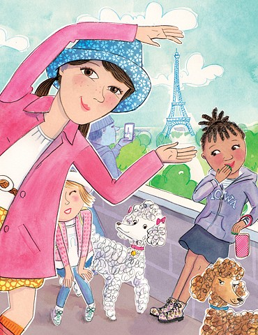 Tween girls, Eiffel Tower, Silly Tourists, Violet Lemay