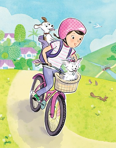 tweens, bike, dogs, Violet Lemay, children's book illustration, kid lit