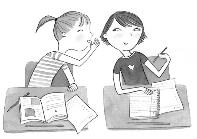 tween girls, friendship, secret, classroom illustration, girl at desk, black and white illustration