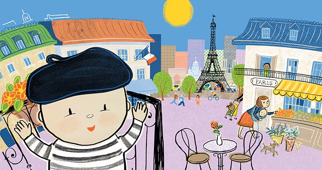 Paris, France, beret, chic baby, culture, poodle, French culture, Violet Lemay, Eiffel Tower