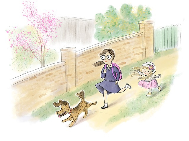 kid lit, YA, tween, school uniform, children's book illustration, dog, little girl, kids, Violet Lemay