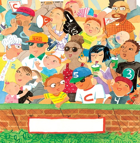 crowd scene, stadium, Wrigley field, sports fans, babies, people, children's book illustration, watercolor